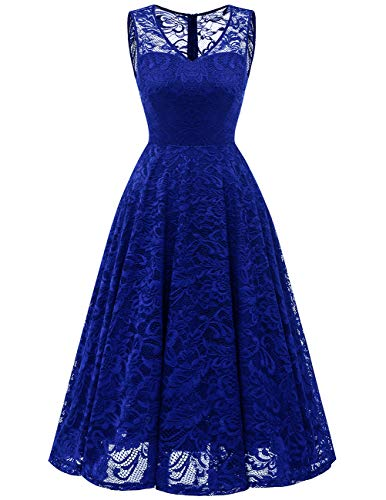 Meetjen Women's Cocktail V-Neck Dress Floral Lace Tea-Length Bridesmaid Party Dress Midi RoyalBlue XL (Best Tea Length Wedding Dresses)
