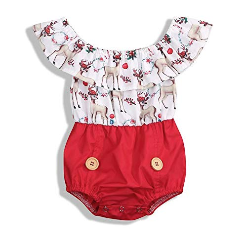(Baby Girl Christmas Dress Matching Newborn Girl Bodysuit Deer Print Lace Princess Skirt Infant Romper Clothes Outfits Set (0-6 Months, Deer - Romper))