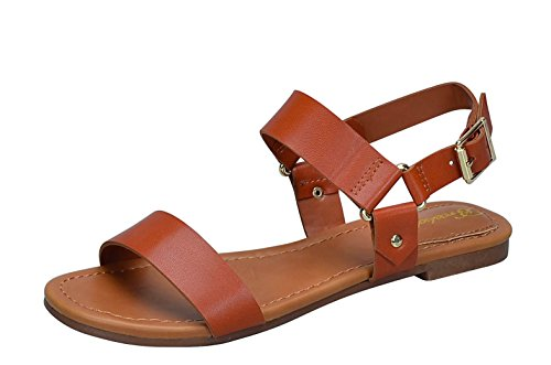 Breckelles Indio-25 Womens Double Strap Flat Sandals Tan zDJx2SjF