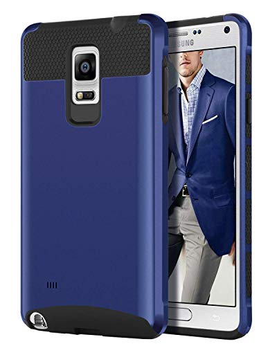 BENTOBEN Case for Galaxy Note 4, Shockproof Hybrid 2 in 1 Hard PC Full Body Soft Bumper Protective Cell Phone Case for Samsung Galaxy Note 4 - Navy Blue