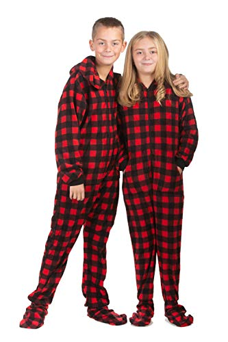 Hoodie Footed Onesie Buffalo Red   Black Plaid Fleece Footed Pajamas for  Boys   Girls 80cd21b2d