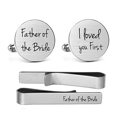 (MUEEU Father of The Bride Cufflinks Engraved Wedding Gifts I Loved You First Tie Clips (Round Father of The Bride Cufflinks &Tie Clip))