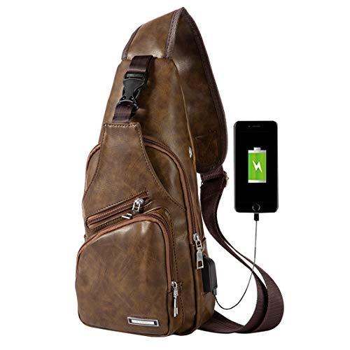 Men Leather Sling Bag Shoulder Backpack Anti Theft Water Resistant Crossbody Bag with USB Charging Port ()
