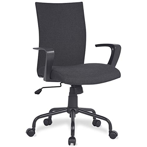 Home Office Desk Chair Computer Chair with Removable Arms and Wheels Mid Back Cloth Morden, Charcoal Black