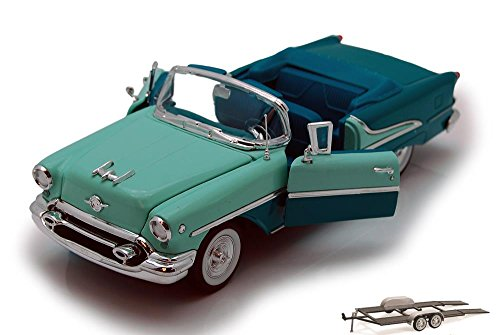 Diecast Car & Trailer Package - 1955 Oldsmobile Super 88 Convertible, Green - Welly 22432 - 1/24 scale Diecast Model Toy Car - Oldsmobile 88 Super