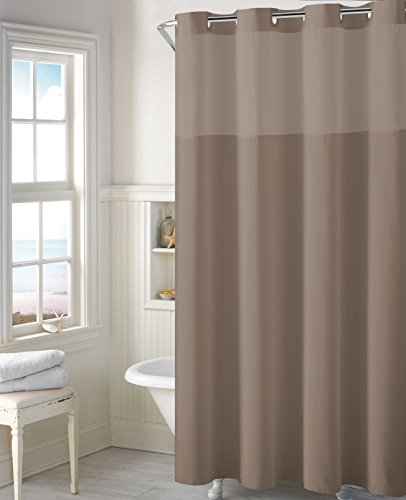 Hookless Mystery EZ-On RBH40MY224 Sheer Fabric Shower Curtain with Lightweight Liner - Desert Taupe by Hookless