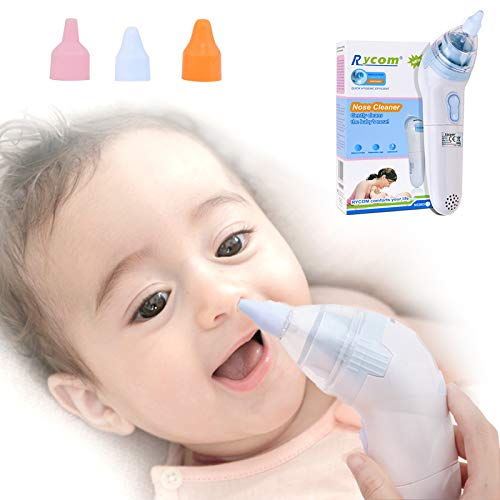 Baby Nasal Aspirator, FMK Electric Safe Nose Cleaner Snot Sucker Suction for Infant Newborns Toddlers with 3 Different Sized Nose Silicone Tips Hygienic, Safe and Battery Operated by FMK