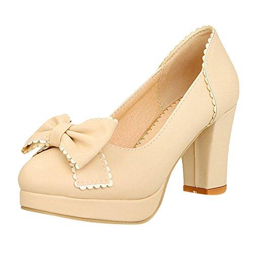 Carol Schoenen Elegantie Dames Bowknots Decoratieve Rand Sweet Grace Platform Ruig Hoge Hak Jurk Pumps Schoenen Beige