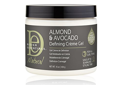 Design Essentials Natural Defining Hair Crème Gel for Hold, Definition and Shine-Almond & Avocado Collection, 16oz.