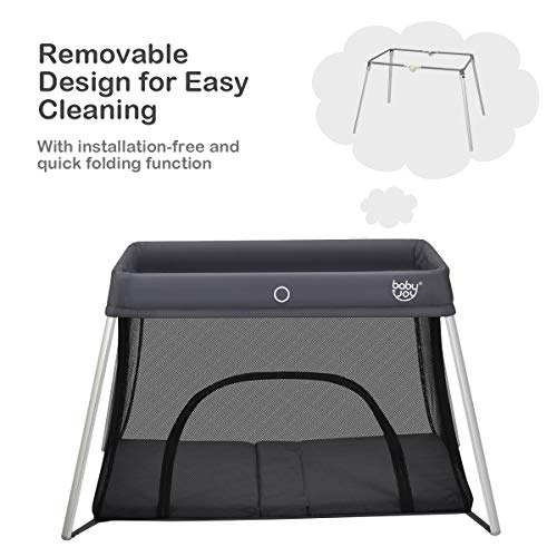 41NAAHn3HYL - BABY JOY Baby Foldable Travel Crib, 2 In 1 Portable Playpen With Soft Washable Mattress, Side Zipper Design, Lightweight Installation-Free Home Playard With Carry Bag, For Infants & Toddlers (Grey)
