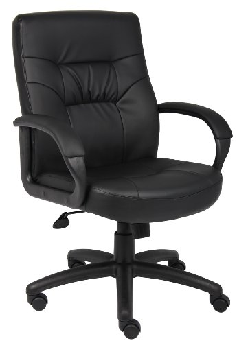 (Boss Office Products B7506 Executive Mid Back LeatherPlus Chair in Black)