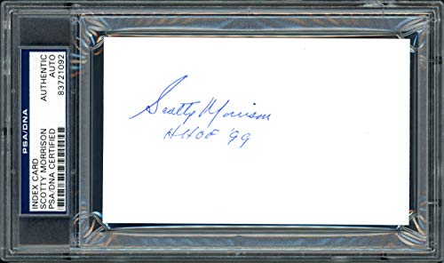 """Scotty Morrison Autographed 3x5 Index Card NHL Referee & President""""HHOF"""