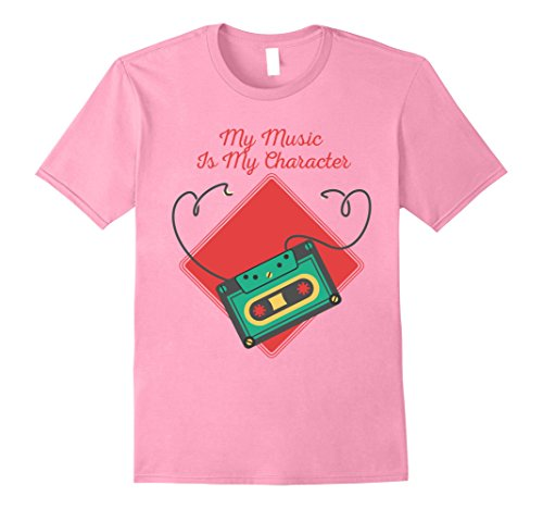 Mens Music Is My Character Cassette 60s 70s 80s Graphic T Shirt 3XL Pink (70s Outfits For Men)