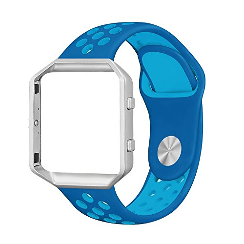 UMAXGET for Fitbit Blaze Bands, Sport Wristband Silicone Replacement Strap with Silver Frame for Fitbit Blaze Smart Fitness Watch Orbit BlueΓ Blue Large
