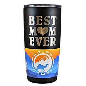 MOM GIFT – Engraved BEST MOM EVER Stainless Steel Polar Camel Tumbler 20 oz Vacuum Insulated Large Travel Coffee Mug Hot & Cold Drinks Birthday Christmas Mothers Day Beach Pool Party (Black)