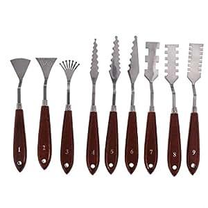 9Pcs Paleta Cuchillo Set - Acero Inoxidable Pintura Mezclado ...