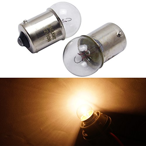 FEELDO 1156 BA15S T16 12V 10W Car Clear Glass Lamp Turn Tail Bulb Car Indicator Halogen Lamp Pack of 10 (Light Incandescent Clear Bulb Indicator)