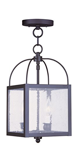 Livex Lighting 4045-04 Milford 2-Light Convertible Hanging Lantern/Ceiling Mount, Black