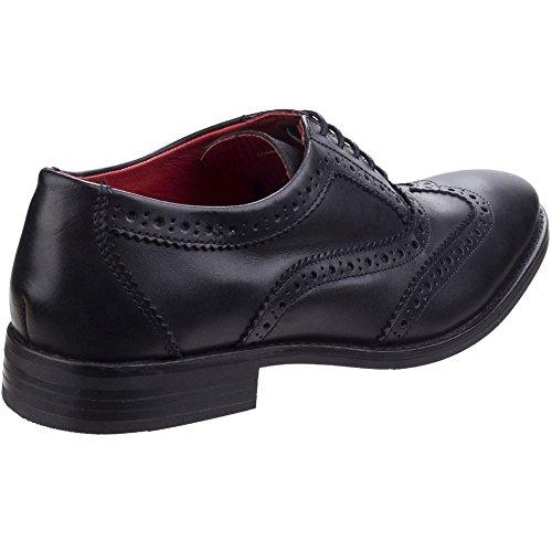 Base London Mens Bramble Smart Burnished Leather Brogue Pattern Shoes Negro