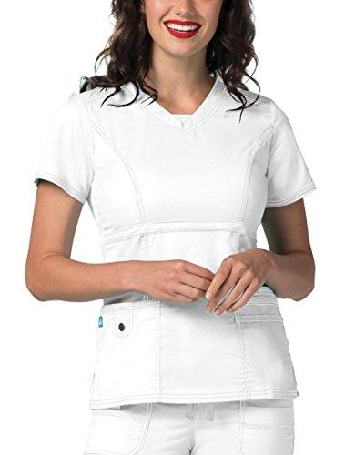 Princess Nursing Top - Adar Pop-Stretch Junior Fit Womens Princess V-neck Top - 3232 - White - XL