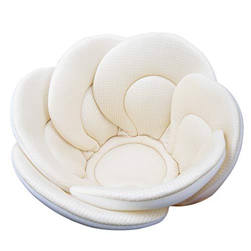 Baby Bath Cushion Sink Bather, Soft Quick Drying Bathtub Mat for Infant Bathing Tub Seat Support,Machine Washable,6-Petal Flower,Cream