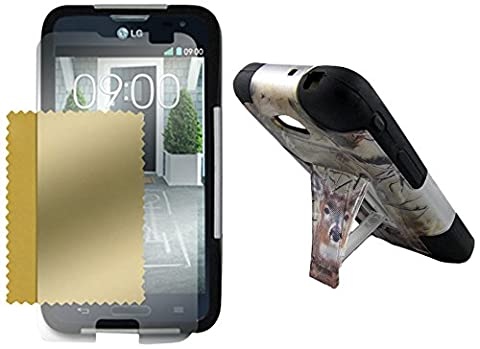 Maxtron for LG Optimus L70 D321 MS323 Hybrid Hard T-Stand Dual Armor Case Cover Screen Protector - Non-Retail Packaging - (Cover De Lg 70)