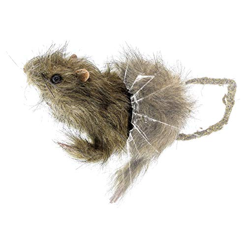 Halloween Haunters Scary Window Cling Crasher Rat Suction Cup Prop Decoration - Realistic Creepy Furry Rat Head and Tail End that Clings to Glass - Fun Prank - Haunted House -