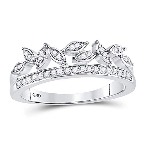 - Dazzlingrock Collection 10kt White Gold Womens Round Diamond Floral Leaf Fashion Band Ring 1/6 Cttw