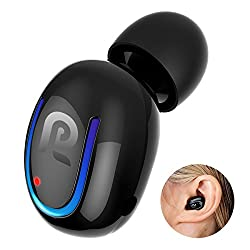 Bluetooth Headphone, Kissral Wireless Sport Earbud 8 Hours Talking Time Hd Microphone Bluetooth Headset One Piece- Black