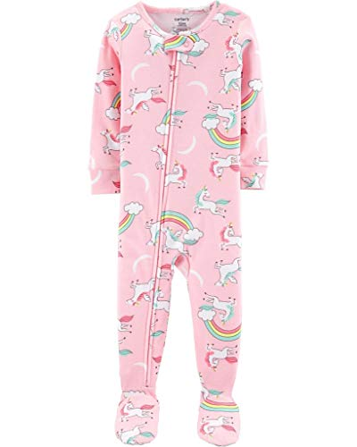 Carter's Girls' 1-Piece Footed Snug Fit Cotton Pajamas (Pink/Unicorns, 3T) (Pink Unicorn Footed Pajamas)