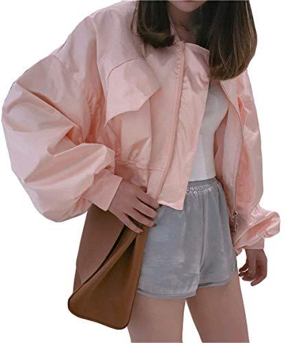 Unicolore Classique Tendance Bomber Fille Court Manches Loisir Fashion Veste Large Jacket Pilote Automne Boyfriend Femme Rose Elégante Blouson Long OqfxqwIWBP