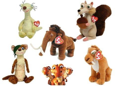 Age 3 Ice Stickers - TY Beanie Babies Ice Age Set of 5 - Scrat Manny Sid Diego Buck