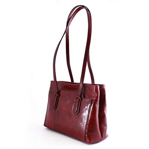 Leather Leather Genuine In For Compartment Woman With Italy Tuscan Double Shoulder Woman Bag Red Bag Made Color Zipped HqUZtg44