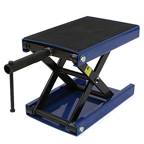 Stark Wide Deck Motorcycle ATV Center Scissor Jack Lift Crank Hoist Dirt Bike Repair Stand 1100lbs Weight Capacity