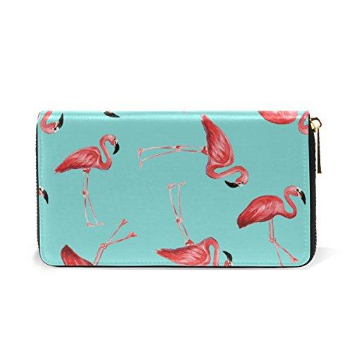 Zip Pattern Flamingoes Around TIZORAX And Pink Womens Leather Organizer Handbags 1 Clutch Wallet Purses xz5wz7Anqg