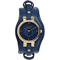 Versus by Versace Women's 'Berlin' Quartz Gold-Tone and Leather Fashion Watch, Color:Blue (Model: VSPGR2518)