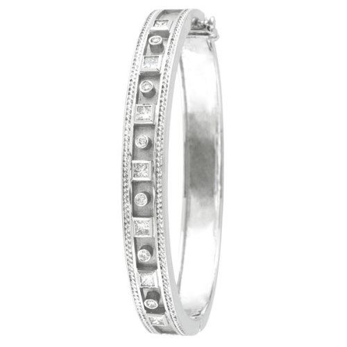 Round and Princess Cut Bezel Set Diamond Bangle 14K White Gold - Diamond White Princess Bangle Gold