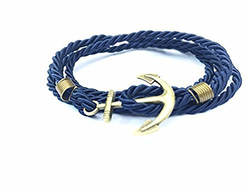 Anchor Bracelet Nautical Blue Paracord Golden Anchor - - Shamballa Wrap Bracelet