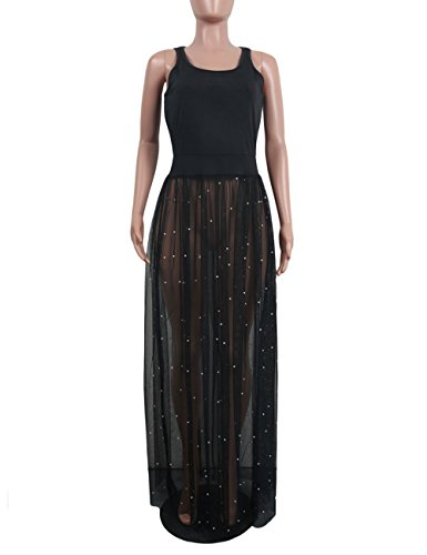 Dresses Tank Maxi Women's Through Black Akmipoem See Mesh Swing Beading Long Sleeveless Perl Sheer Dress 4qOUw7wcf