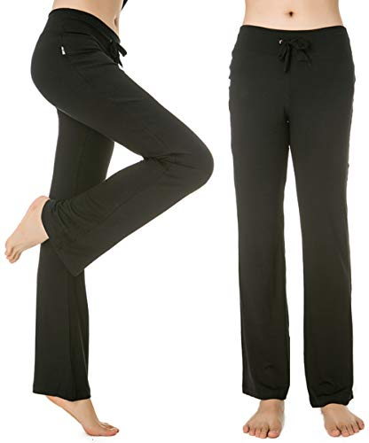 My Fashion Baby Women's High Waist Yoga Pants Comfort Workout Legging Running Fitness Inner Pocket Non See-Through Fabric(Black,L)