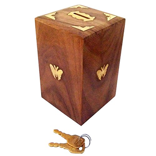 Giving Day Gift, Wooden Coins Storage Box, Wooden Piggy Bank, Square Money Bank With Butterfly Inlay on Two Sides and Lock to Store your Money, Wooden Toy Bank, Measures 5 Inch ()