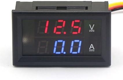ARCELI 100174 Multímetro Digital Pantalla LED Doble Voltímetro DC 4.5V a 30V Amperímetro 0 a 50A Medidor de Corriente de Voltaje Volt Amp Panel Monitor para Auto Car Motor