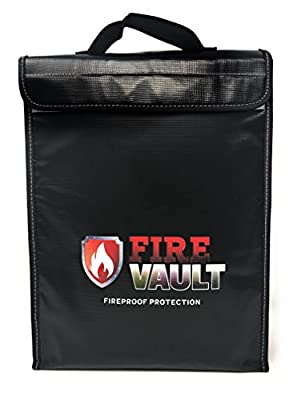"Fireproof Document Bag 15""x11""x2.5"" Zipper and Velcro Closure For Maximum Protection, Silicone Coated Fire and Water Resistant Money Bag. Store Money, laptops, passports, valuables."
