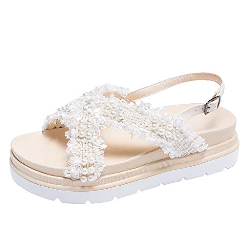 (JJHAEVDY Womens Cute Pearl Cross Strappy Sandals Flats Non-Slip Ankle Strap Buckle Rubber Platform Sandals for Girl)