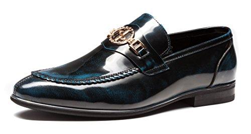 Opp Designer Menns Glatt Skinn Slip På Metall Bit Detalj Lav Hæl Loafer Sko J7109-blå