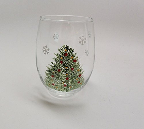 Amazon Com Hand Painted Wine Glass Christmas Tree With Red And Yellow Ornaments And Snowflakes In 15 Oz Stemless Wine Glass Handmade