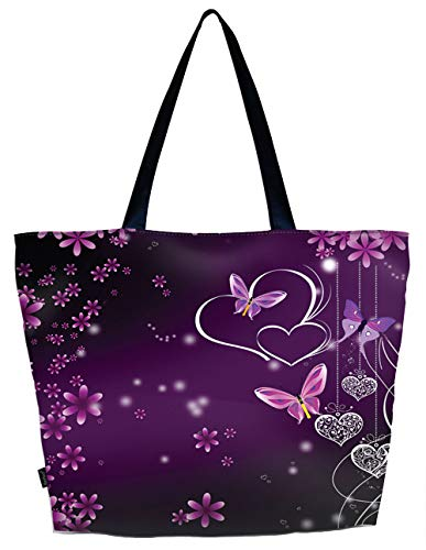 Lightweight Travel Beach Tote Bag Foldable Reusable Shopping Shoulder Hand Bag - Purple Hearts Butterflies, Large