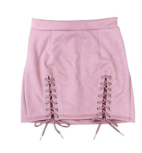 Pacchetto Pink Bodycon Mini Corta Donna Vita Vestito Del Festa Con Gonna Gonna Dell'Anca HTPxSxpqw