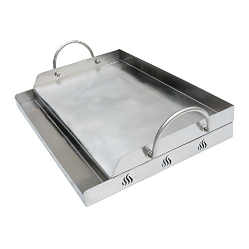 Onlyfire Universal Stainless Steel Rectangular Griddle for Gas BBQ Grills, 23