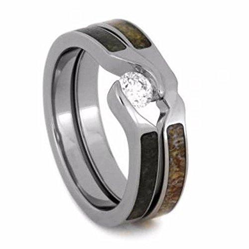 (Tension-Set Diamond, Obsidian Engagement Ring, Antler Titanium Wedding Band, Bridal Set Size 14.25)